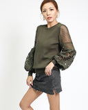 army green knitted top with crochet sleeves *pre-order*