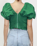 green soft chiffon puff sleeves cropped top