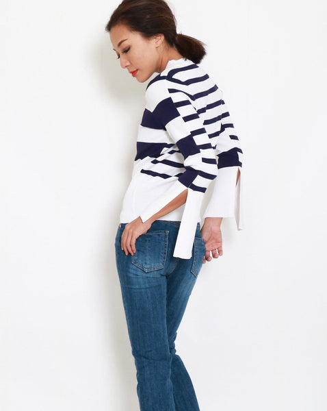 navy & white stripes knitted top *pre-order*