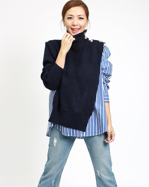 blue stripes shirt with navy knitted turtle neck contrast top *pre-order*