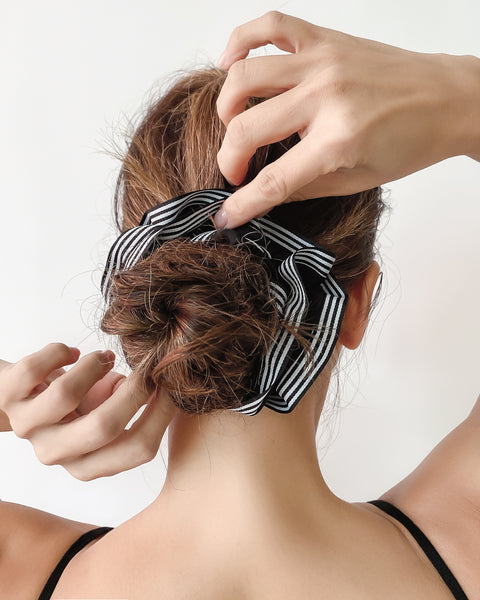 black & white stripes hair scrunchie