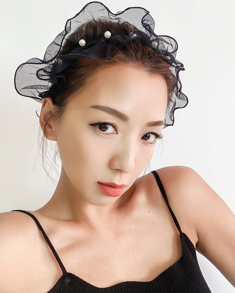 black mesh ruffles with pearls headband