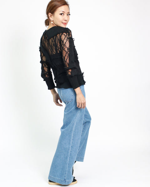 black lace with patch-work long sleeves top *pre-order*