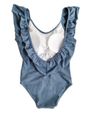 Blue ruffles U back one piece swimwear