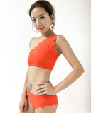 bright orange texture one shoulder and low rise pants bikini swimwear *pre-order*