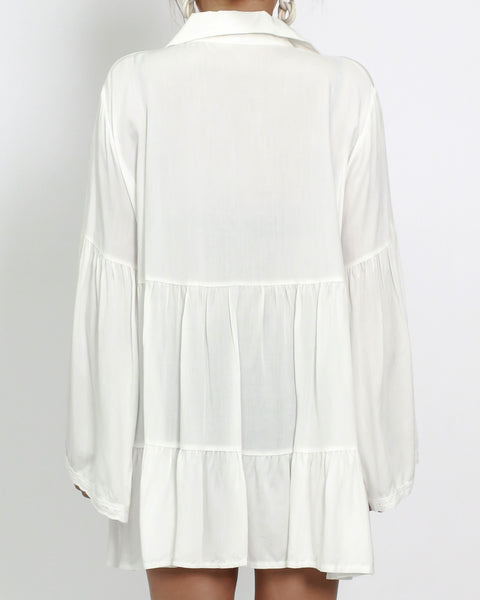 ivory crochet cover up shirt *pre-order*