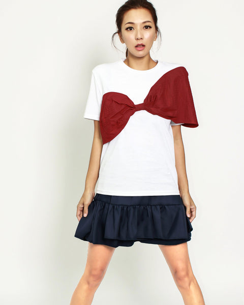 ivory & red bow tee *pre-order*