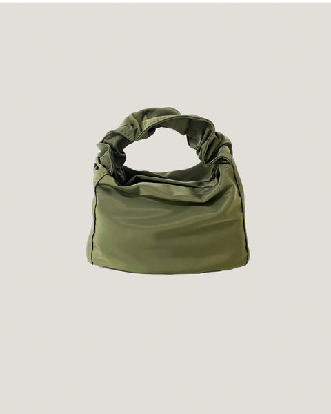 olive nylon ruched handle bag *pre-order*