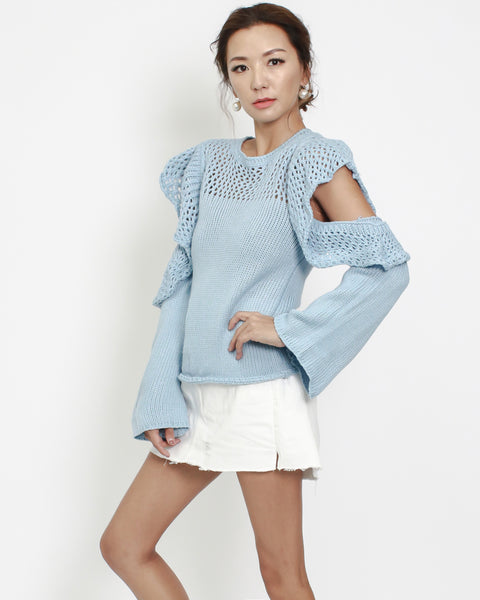 blue ruffles cutout sleeves knitted top