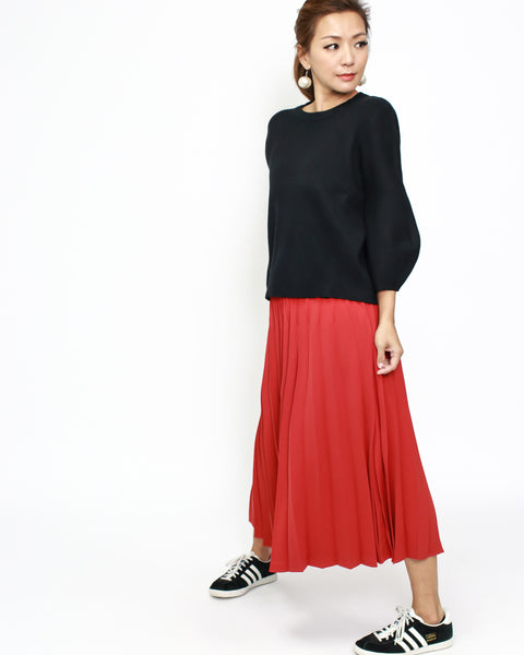 black basic CROPPED sleeves knitted top *pre-order*