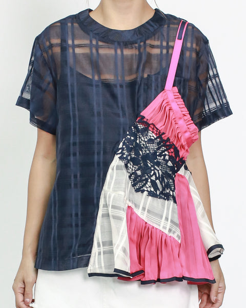 navy organza with pink & ivory ruffles pleats contrast top with slip *pre-order