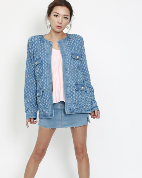 denim ripped jacket with belt *pre-order*