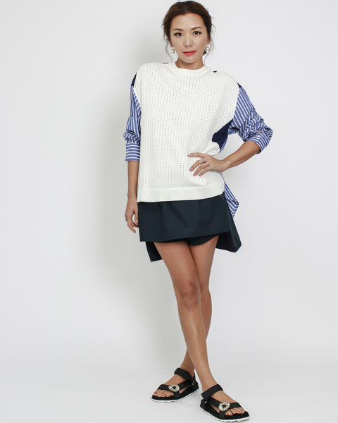 navy asymmetric shirt skort