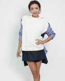ivory knitted with blue stripes shirt back top *pre-order*