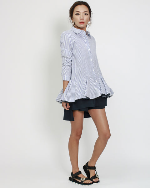 blue stripes texture shirt with mesh layer ruffles hem