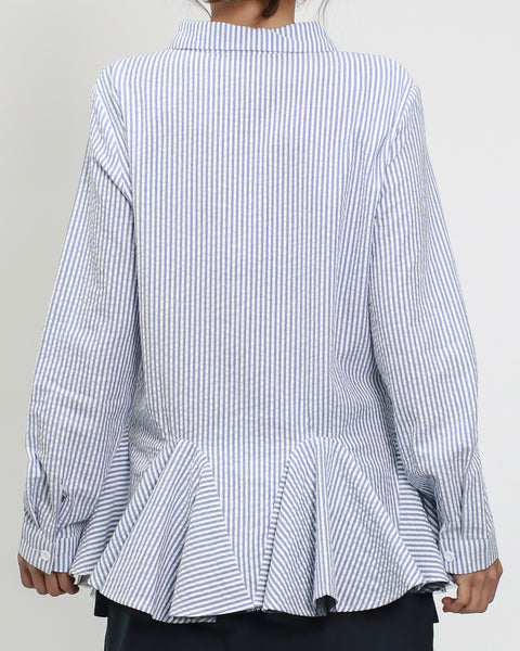 blue stripes texture shirt with mesh layer ruffles hem *pre-order*