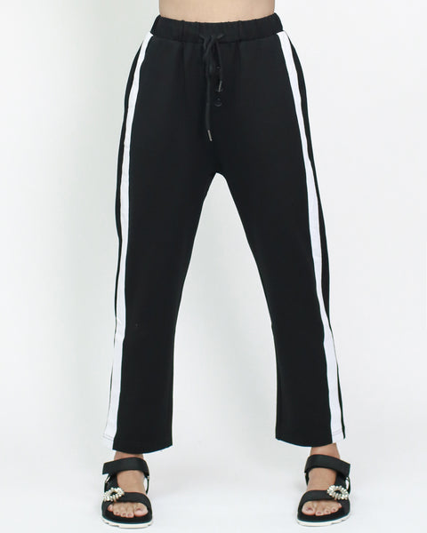 black with white straps sides cotton track pants