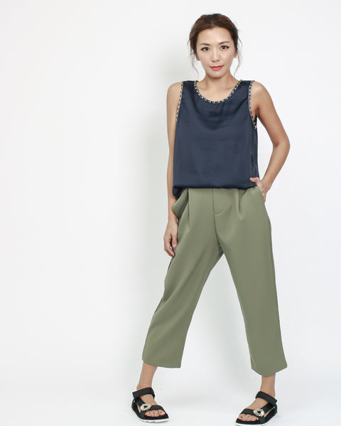 olive button back slinky cropped pants *pre-order*