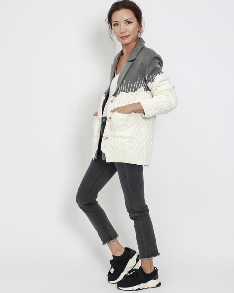 Grey & IVORY knitted contrast blazer *pre-order*
