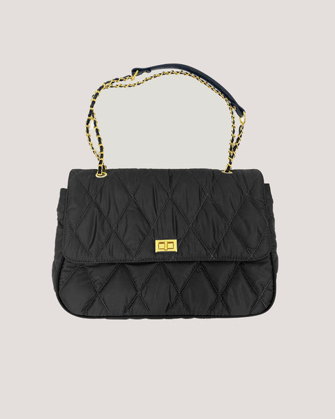 black nylon quilted chain bag
