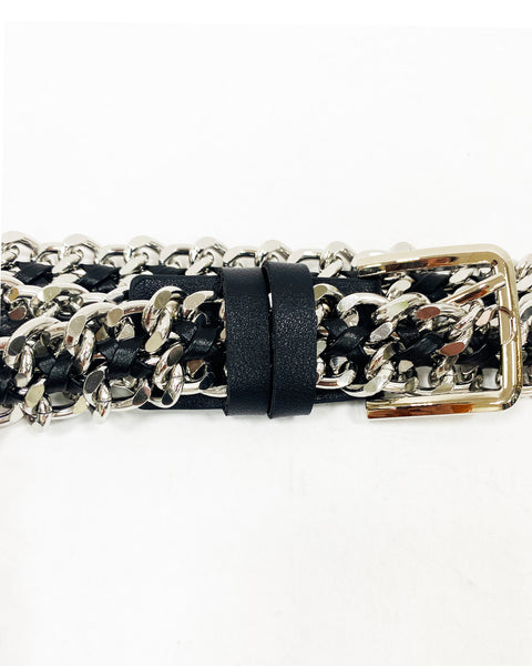 black PU leather & silver chain buckle belt *pre-order*
