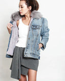 denim jacket & furry inner faux fur collar *pre-order*