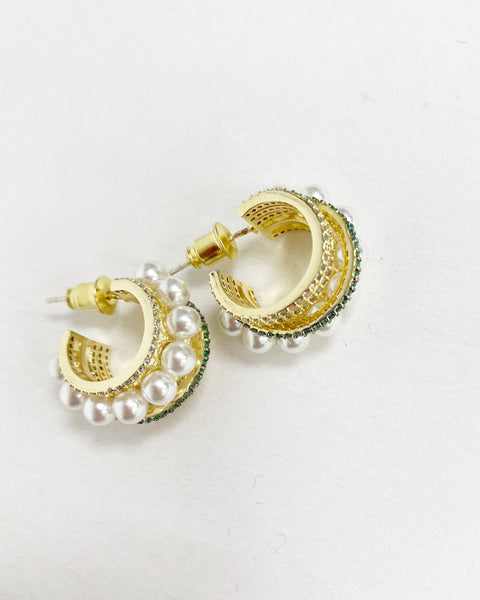 gold with diamonds & pearls hoops earrings *pre-order*