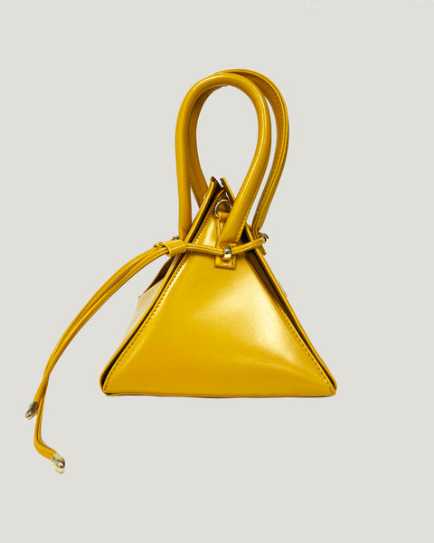 yellow PU leather triangle handle bag *pre-order*