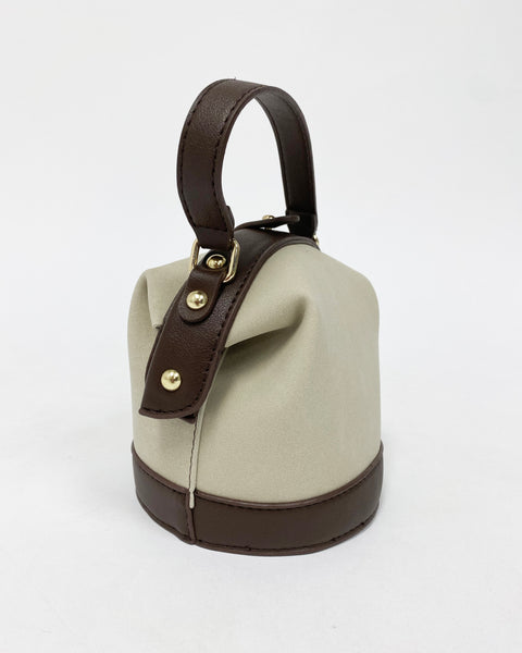 beige faux suede with PU brown leather bucket bag *pre-order*