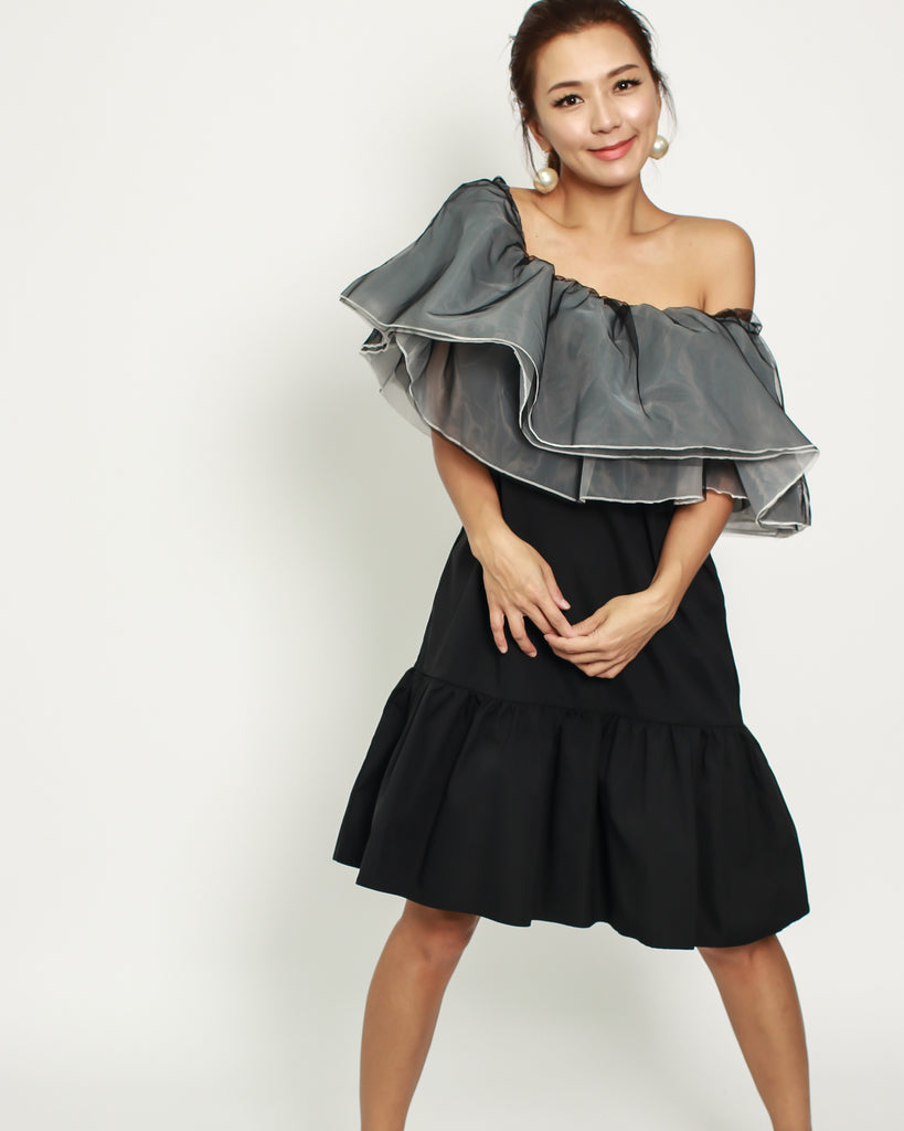 01afb7190797 black frill off shoulder dress with grey   white mesh ruffles