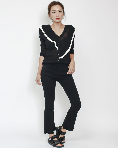 black with white trim ruffles knitted button front top *pre-order*