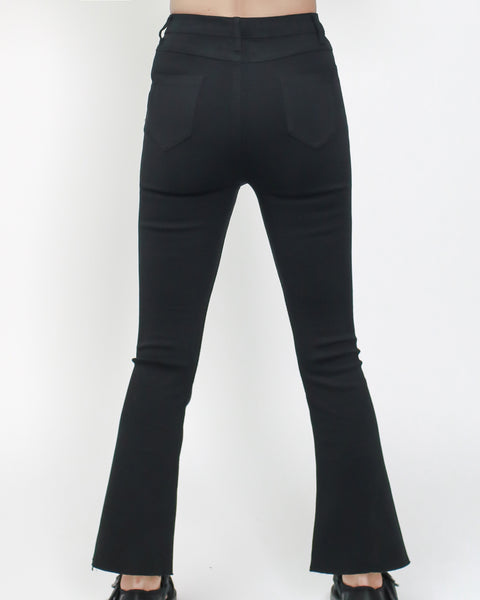 black skinny stretch bell cropped pants *pre-order*