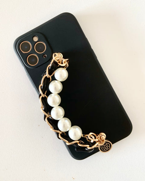 black silicone & pearls chains phone case *pre-order*