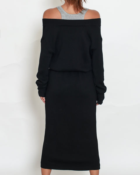 black knitted with grey vest midi dress *pre-order*