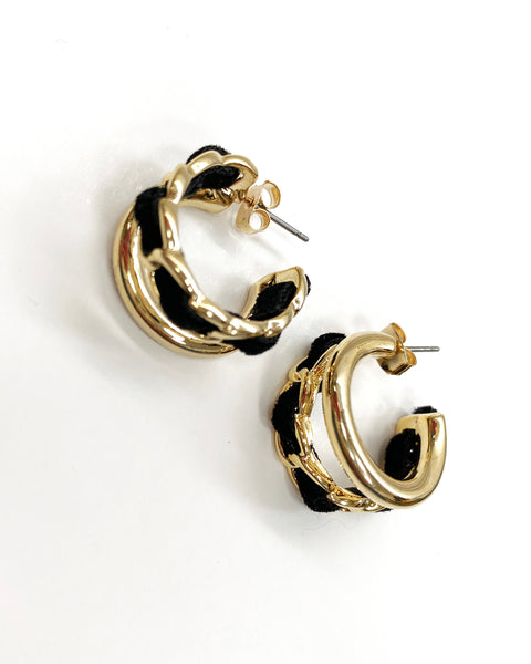 gold chain double bar earrings