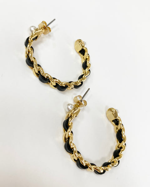 gold slim chain pearls hoop earrings