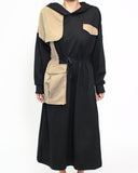 black cotton with hkaki shirt contrast hoodie midi dress *pre-order*