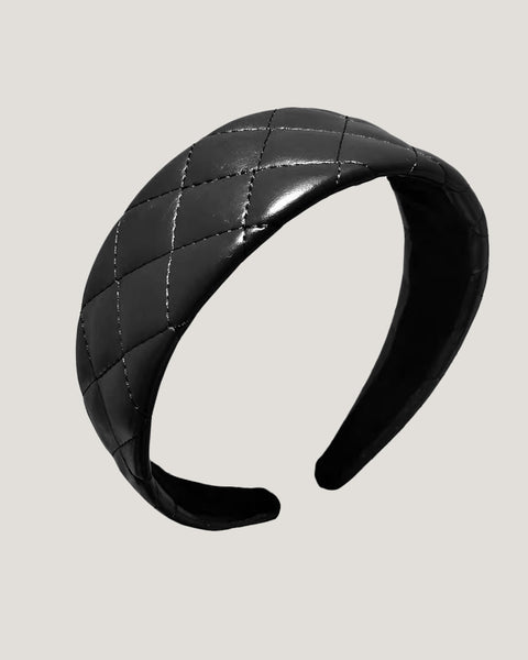 black quilted PU leather headband