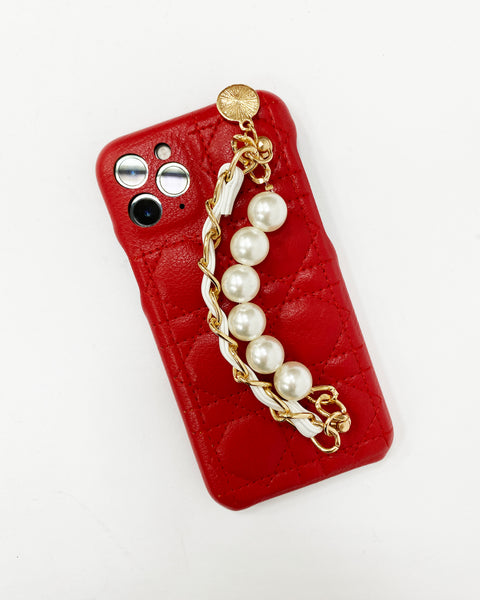 red quilted PU leather pearls chain phone case *pre-order*