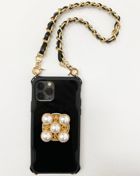 black plastic pearl popsocket & chain phone case *pre-order*