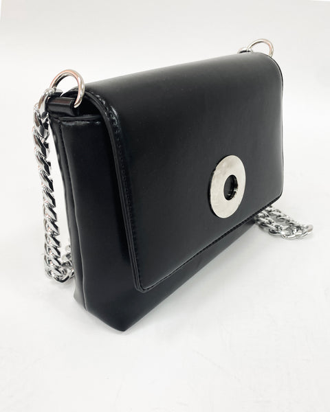 black PU leather with silver chain bag *pre-order*