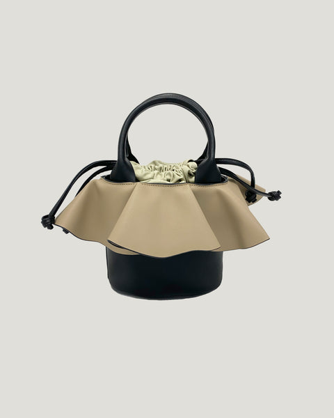 black with beige ruffles PU leather bag *pre-order*