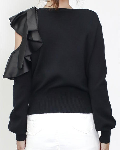 black knitted cutout shoulder with satin ruffles top *pre-order*