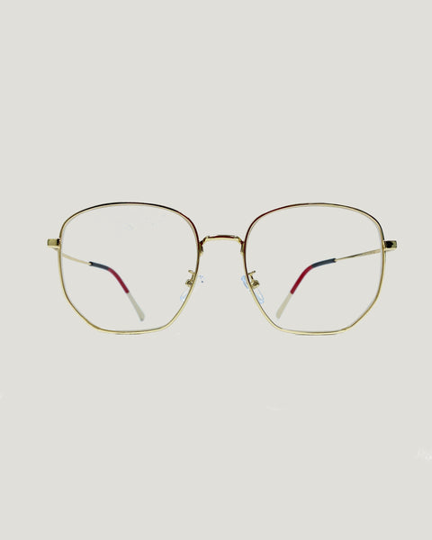 gold square frame glasses