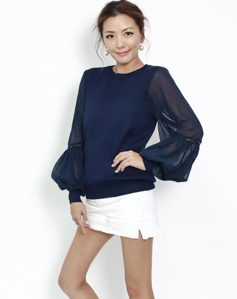 navy knitted with chiffon crochet sleeves top
