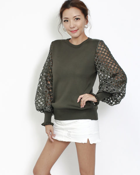 olive knitted top with luxe net sleeves
