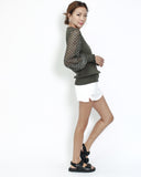 olive knitted top with luxe net sleeves *pre-order*