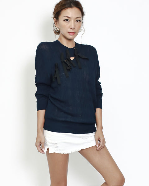 navy knitted with bows front top