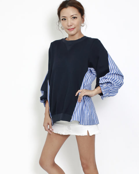 navy sweat with blue stripes shirt back contrast top