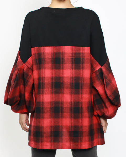 black & red checkers sleeves & back top *pre-order*